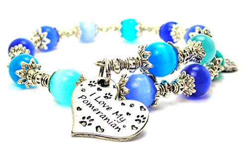 Cat Eye Cat Charm Bracelet - I Love My Pomeranian Heart Cat's Eye Wrap Charm Bracelet in Sapphire Blue and Aqua Blue