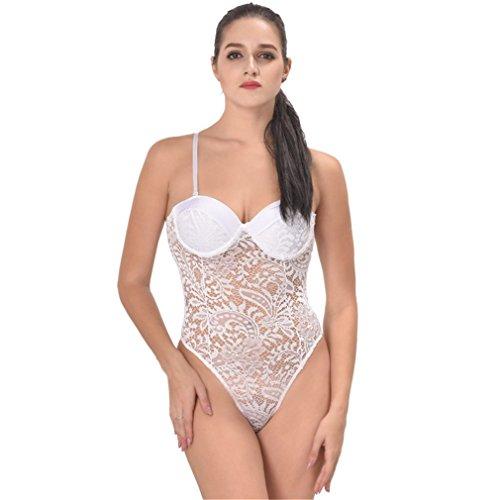 De Bikini Sexy Acvip Lingerie Femme vêtements vêtements Nuit Siamois Transparent Dentelle Blanc Sous wFwY6xP1q