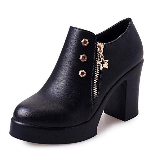 PUMPS Chunky Heels High Heels,England Wind Frauenschuhe,Original Hostel Vintage Leder Schuhe,Wasser Schuhe-A Fußlänge=23.8CM(9.4Inch)