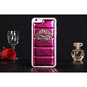 DD Leather Style Design Metal Lip PC Pattern Hard Case for iPhone 6