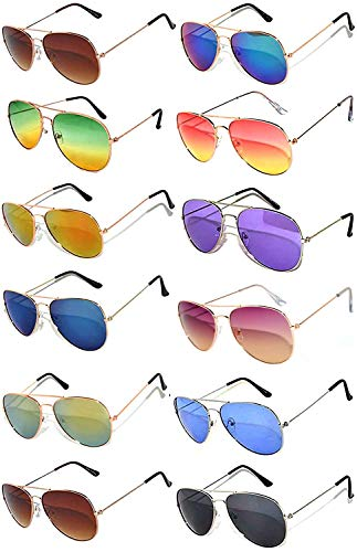 12 Pairs Classic Aviator Sunglasses Metal Gold Silver Black Colored Mirror Lens OWL (Aviator_Mix_Colored_Lens, Colored) -