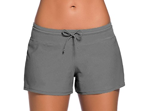 (Sythyee Women's Swim Boardshorts Tankini Boyshorts Beach Bottom Swimsuit Built in Briefs Gray Size M)