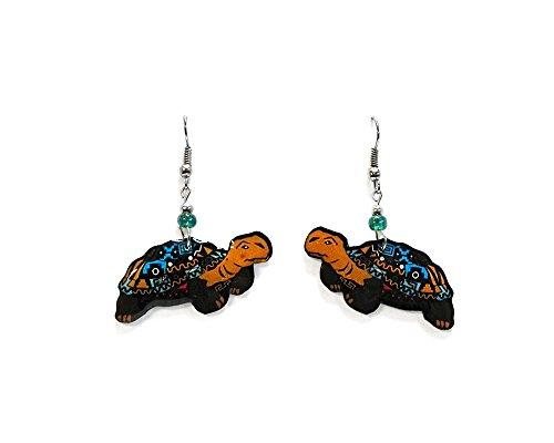 Tribal Turtle Dangle Earrings (Tribal/Turquoise/Tan) -