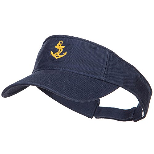 Anchor Logo Embroidered Cotton Washed Visor - Navy OSFM ()