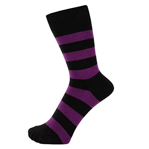 ZAKIRA Finest Combed Cotton Striped Dress Socks for Men, Women (Purple/Black, US 6-9)