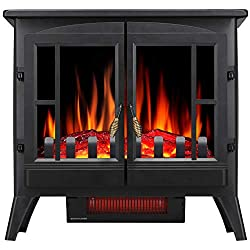 Joy Pebble Free Standing Electric Fireplace Stove Heater with Realistic Log Flame Effect by Joy Pebble