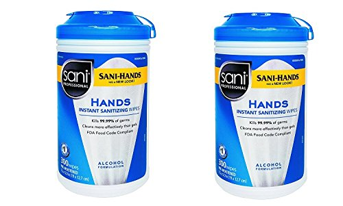 Sani Professional P92084CT 7 1/2 x 5 Tencel Instant Hands Sanitizing Wipes Canister of 300 (Case of 6) (2-(Case of 6))