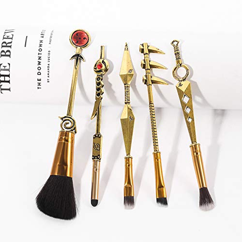 5 Pack Naruto Makeup Brushes Set Metal Handle Velvet Gift Pouch Anime Peripheral Kunai Prop Konoha Leaf Village Shinobi Cosplay Birthday Thanksgiving Christmas present for Weeb Naruto Fans (Antique Gold)