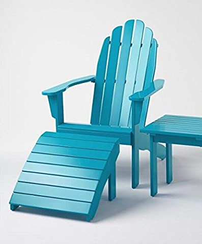 2 Piece All Weather Adirondack Chair +Ottoman Wooden Furniture for Conversations on Deck Patio Outdoor Garden Poolside Beach (2, Blue (Adirondack Chairs With Ottoman)