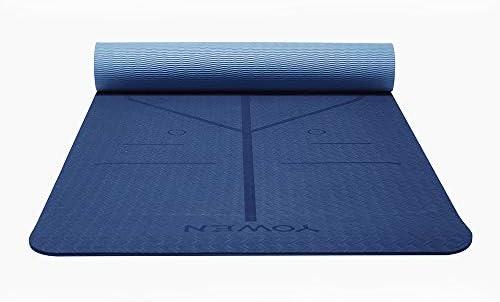 Yoga Mat, Tapete de Yoga, Estera de Yoga, 6mm Eco Friendly Pilates Mat, Colchoneta de Yoga Extra Larga y Ecológica Colchón de Ejercicios Antideslizante Esterilla de Entrenamiento para Pilates y Yoga con un Sistema de Alineación Corporal 4