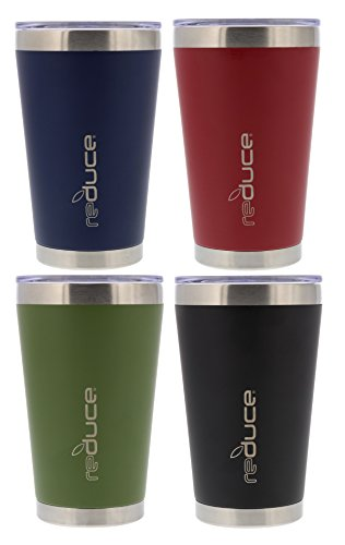 4 Tumbler 16 Oz Mugs - reduce vacuum insulated stainless steel pint, 16oz - Black, Blue, Green Red (4 Pack) - Great for Tailgating, Camping, Boating or on the Beach