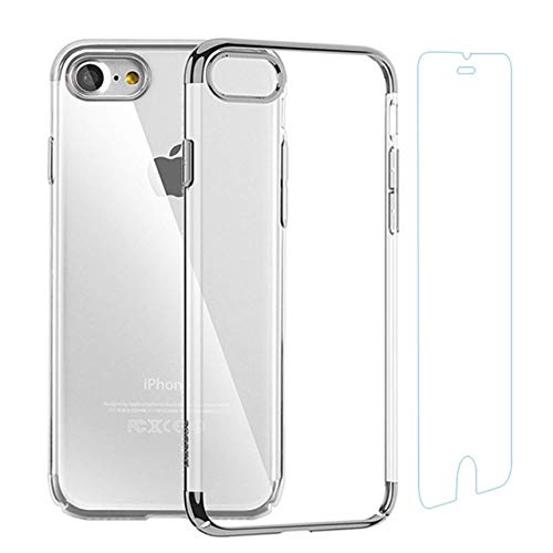 iPhone Case and Screen ProtectorSet Crystal ClearTPU Cover Case with SoftShock Absorption Bumper and Tempered Glass Screen Protector for iPhone 6 Plus/6s Plus ()