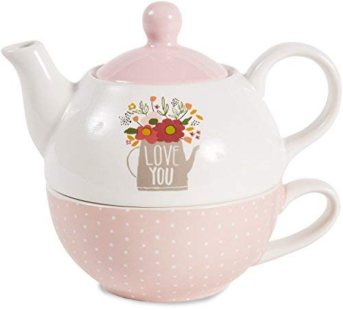Pavilion Gift Company 55207 Love You Teapot and Cup, 15oz