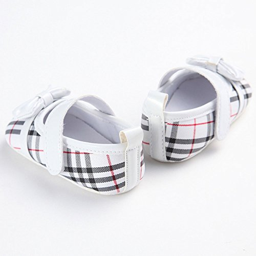 etrack-online Bañador Rayas Bow-knot suave soled Prewalker zapatos de Mary Jane rojo rosso Talla:12-18month blanco