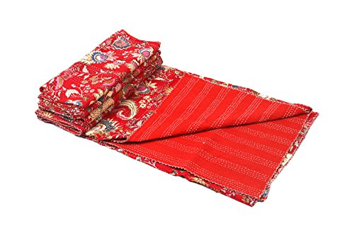 BluSpirits Indian tribal paisley crown print kantha quilt (Red) by BluSpirits
