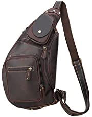 Polare Cool Real Leather Cross Body Sling Bag Chest Bag Backpack Large with YKK Zipper