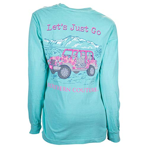 Southern Couture Comfort Long Sleeve Fit Let's Just Go Adult T-Shirt Chalky Mint XX-Large from Southern Couture