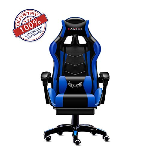 KLV Video Gaming Chair Racing Office-PU Leather High Back Ergonomic 155 Degree Adjustable Swivel Executive Computer Desk Task Large Size with Footrest,Headrest and Lumbar Support, Black/Blue