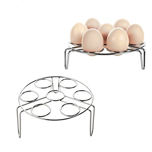 Chefs Round Pot Rack - Steamer Rack for Instant Pot, Stainless Steel Kitchen Cooking Egg Steaming Rack Stand Basket Set for Pressure Cooker Accessories, 2-Pack (2.1 Inch Height+3.1 Inch Height)