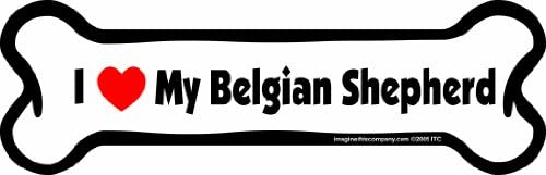 Imagine This Bone Car Magnet, I Love My Belgian Shepherd, 2-Inch by 7-Inch
