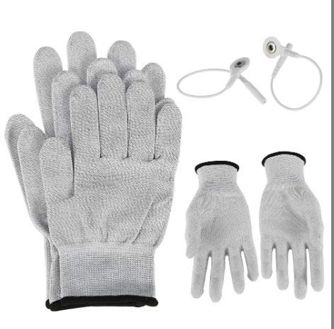 Pair of Conductive Fiber Electrode Gloves With Conductive Massage Socks With Adapter Electrode Lead Wires for TENS//EMS Machine