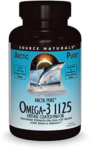 Source Naturals ArcticPure Omega-3 Fish Oil 1125mg Ultra Potency EPA + DHA For Heart, Joint, Brain & Immune Health -Enteric Coated For Sensitive Stomachs - 120 Softgels ()
