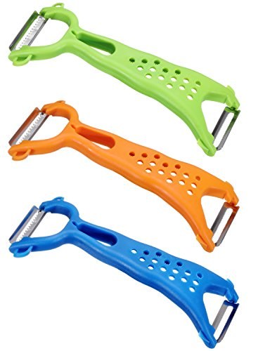 Vegetable Peeler Dual Y Peeler Fruit Peeler for Apple Potato Orange Carrot Peeler Veggie Julienne Slicer Peeler Sharp Stainless Steel Serrated Blade Peeler Classic Zester Tool 3 Sets Green Orange Blue (Serrated Steel Stainless Blade)