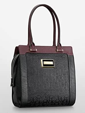 Calvin Klein Carey Logo Structured Tote (Black)