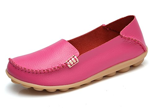 Venuscelia Womens Natural Comfort Walking Flat Loafer Fushia / Rosiness