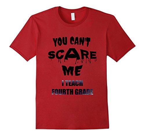 Mens Teacher Shirt 4th Grade Fourth Cant Scare Me Teach Halloween 2XL Cranberry