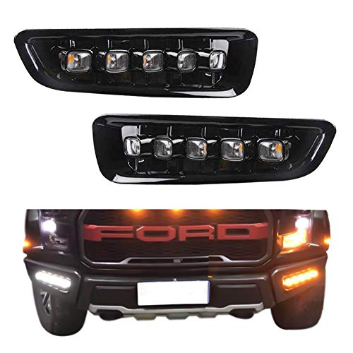 Gtinthebox High Power Switchback Amber White Dual Color Cree Chips Led Bumper Drl Fog Driving Lights Extremely Bright With Turn Signal Lamp Kit Perfect Fit For 2017 2018 Ford F 150 Raptor 2pack