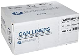 Inteplast Group IBS VALH3860N14 HDPE Can Liner, 60 Gallon, 38\