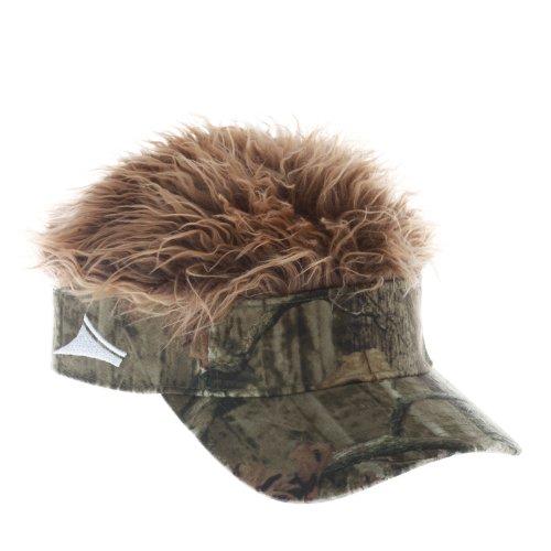 Flair Hair Mens Velcro Visor Hat Cap (Mossy Oak Camo w  Brown Hair)  (B00OMFMV0Q)  7cf5e500b95