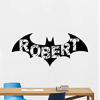 Personalized Batman Wall Decal Custom Boy Name Arkham Logo Emblem Logotype  Superhero Comics Cartoon Poster Wall