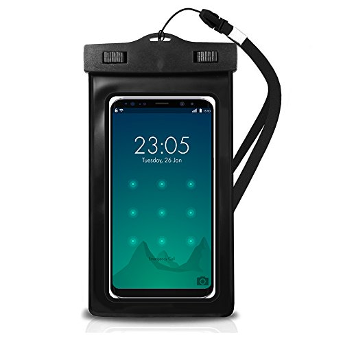 EcoGear FX Waterproof Phone Bag Pouch - Universal IPX8 Water Proof Cell Phone Dry Bag for iPhone X/8/8plus/7/7plus/6s/6/6s Plus Samsung Galaxy s8/s7 Google Pixel HTC10 (Black 2-Pack)