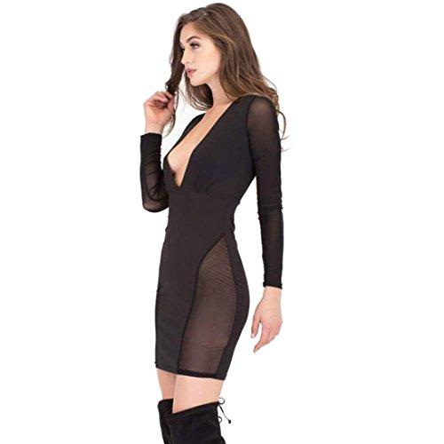 Rcool - Vestido para Mujeres - Moda Mujer Atractivo Neta Hilado Perspectiva Vestido de Manga Larga Negro