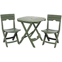 Adams Manufacturing 8590-01-3731 Quik-Fold Cafe Bistro Set, Sage