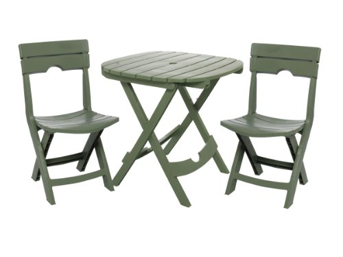 Adams Manufacturing 8590-01-3731 Quik-Fold Cafe Bistro Set, Sage (Plastic Top Bench)