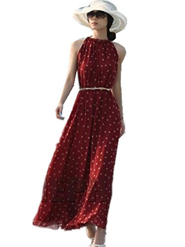 Womens Polka Dots Long Casual Summer Dress Beach Dress Party Chiffon Dress Maxi Dress (Red)