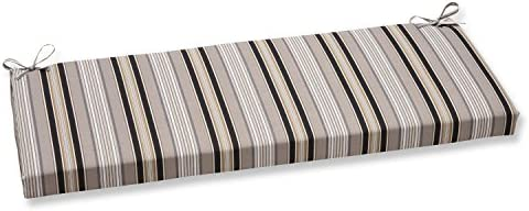 Pillow Perfect Outdoor Indoor Getaway Stripe Onyx Bench Swing Cushion, 45 x 18 , Black