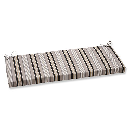 Pillow Perfect Getaway Stripe Bench Cushion, Black -