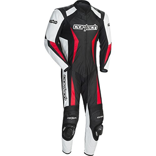 Cortech Latigo 2.0 Men's 1-Piece Leather Street Racing Motorcycle Race Suit - Black/Red/Large ()