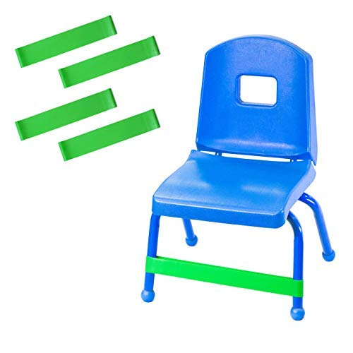 Chair Bands (4-Pack) | Bounce, Kick, Fidget, Concentration, Therapy, and Sensory Bands - Relieves: Anxiety, Hyperactivity, Frustration, and Extra Energy | Helpful with Autism, ADHD, ADD, and SPD