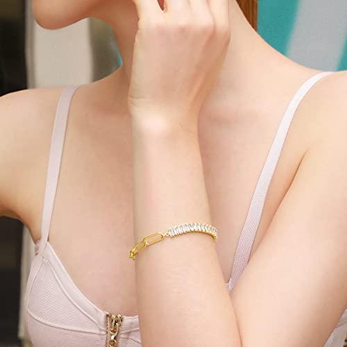 Damen Tennis Armband Rechteck Weiß Zirkonia Büroklammer Link Armkette Mode Verstellbar Armbänder Schmuck Geschenke für Sie Frauen Freundin Ehefrau Mama Geburtstag Jahrestag Hochzeit Party