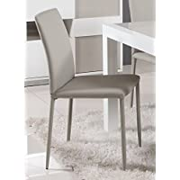 Milan Giselle Grey Fully Covered Tapered Leg Side Chair (Set of 2)