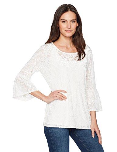 Ruby Rd. Women's Scoop-Neck Paisley Burnout Velvet Tunic, Winter White XLarge
