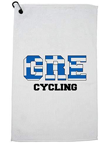 Hollywood Thread Greece Cycling - Olympic Games - Rio - Flag Golf Towel with Carabiner Clip by Hollywood Thread