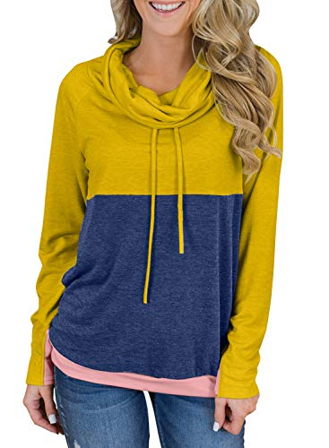 Asvivid Womens Cowl Neck Long Sleeve Color Block Tunic Tops Light Weight Drawstring Loose Pullover Sweatshirt S Yellow ()