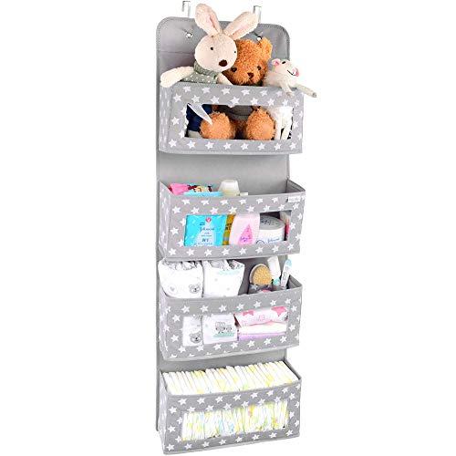 Vesta Baby Over the Door Hanging Organizer - Unisex Space-Saving 4-Pocket Storage Solution for Closet, Children