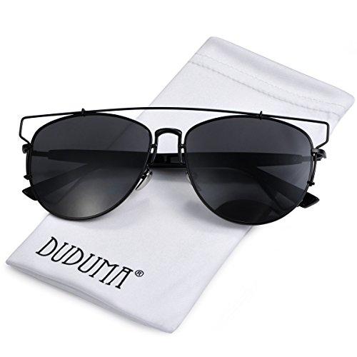 Duduma Polarisiert Pilotenbrille Mode Flieger Aviator Sonnenbrille mit Flache Linse Vollmetall -Crossbar-Rahmen für Damen und Herren 8027 (Schwarze Rahmen mit Schwarze Linse)